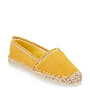 Mustard yellow Karl lagafeled slip on shoes